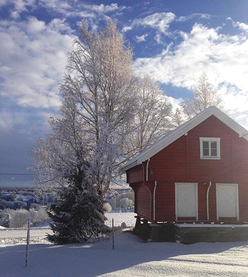 Stabbur i vintersol